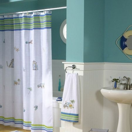 The Ocean Surf Shower Curtain Creates A Beachy Atmosphere To Your .