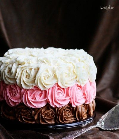 Neapolitan Rose Cake, inside and out! I will probably never make this, but it looks amazing!