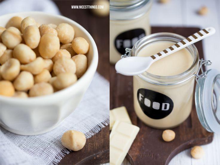 Macadamia Nüsse in weißer Schüssel, Löffel Gold Miss Etoile
