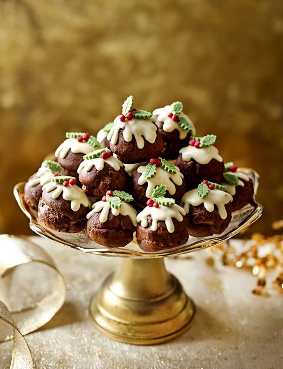 Chocolate profiterole Christmas puddings