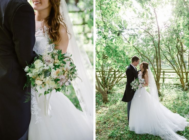 Couple standing together for portraits at their Notley Abbey wedding in Buckinghamshire