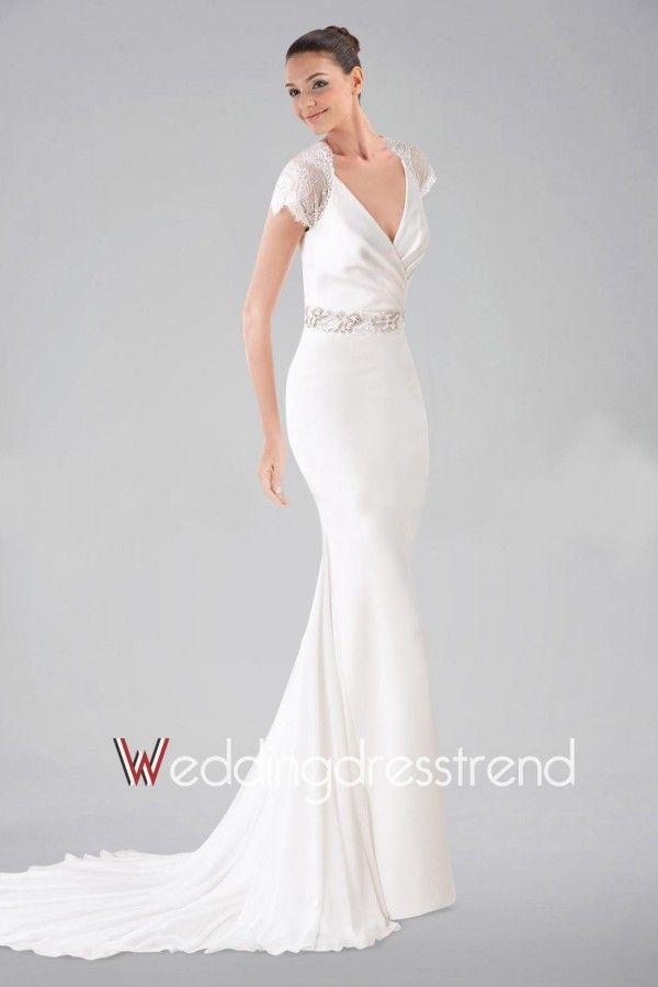 Simple Designed Appliqued Beaded V-neck Sheath Wedding Dress