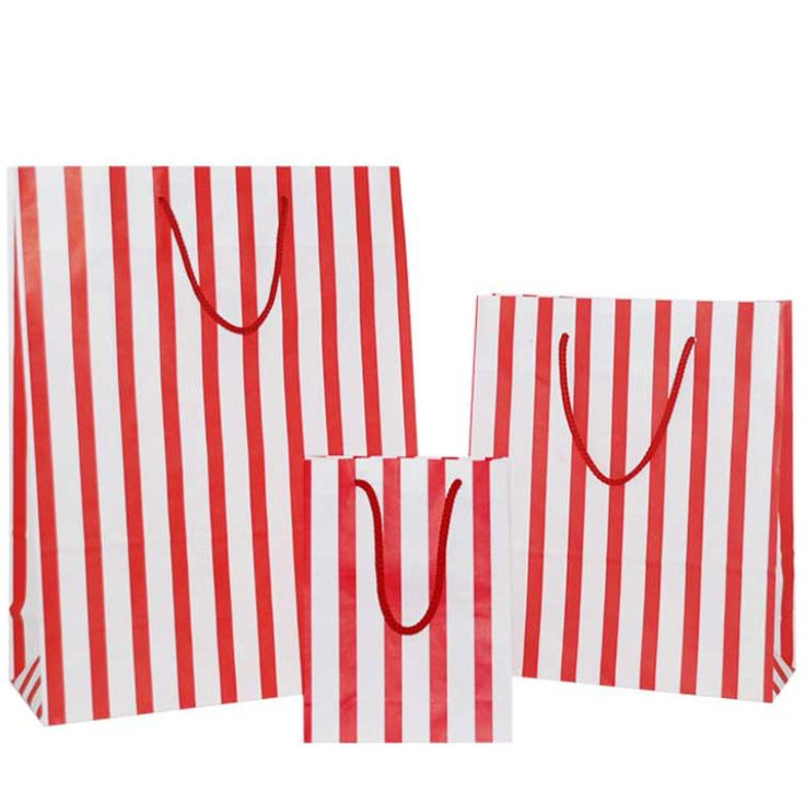 Red Stripes on White Carrier Bag with Rope Handle - Pico Bags