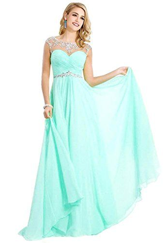 Beaded Chiffon Long Prom Dresses 2015 for Women Party , Aqua , 6