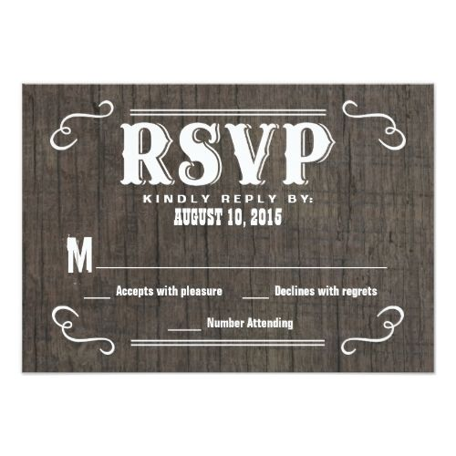 Shabby Chic Wedding RSVP Invitations RSVP Old West Wood Wedding Reply Cards