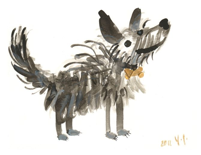 """by Yasmeen Ismail  Rocky Raccoon  Watercolours  """"An illustration of a lovely old dog called Rocky whom I met whilst cycling around the hills of Derry and Donegal."""" Yasmeen Ismail"""