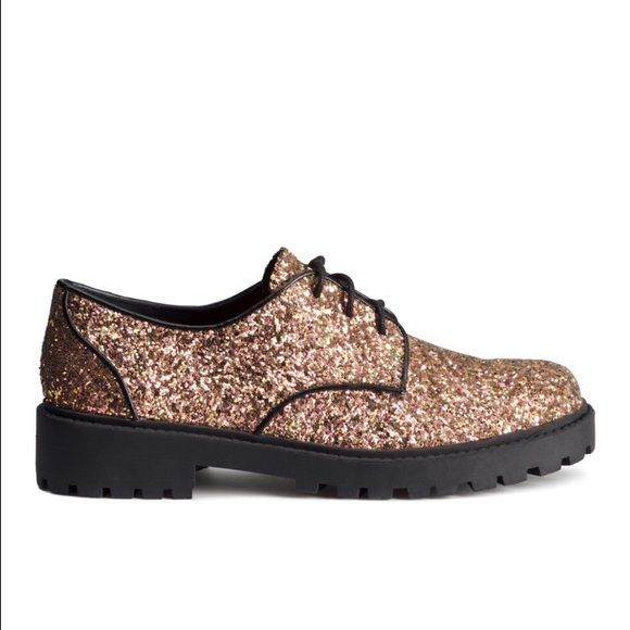 NWT H&M Glitter Lace Up Shoes NWT AMAZING Glitter lace up shoes! Sold out on