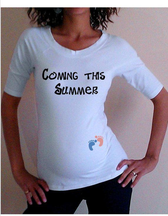 "Cute, Fun, White Maternity Shirt/Tee ""Coming this Summer ..."