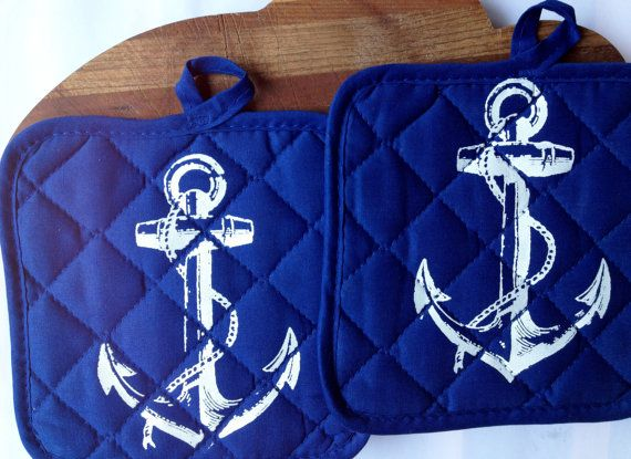Anchor Nautical Pot Holders - Hot Pads. Blue and White - kitchen decor Kitchenware Cooking Baking Sailor Kitsch on Etsy, $10.00