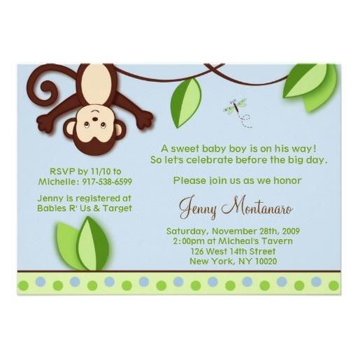 Invitations de baby shower de jungle de singe