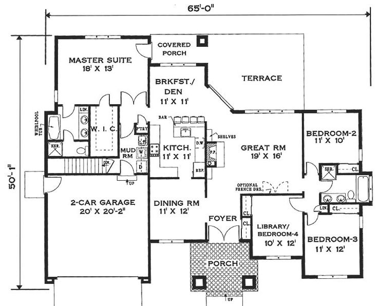 Single Story House Floor Plans | Elegant One Story Home House Plan   6994