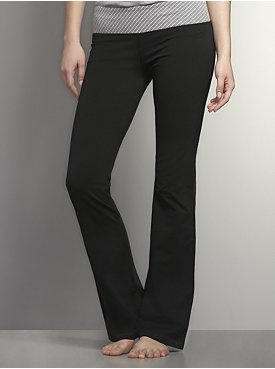 Love NY Collection Yoga Bootcut Pant - Lurex Stripe Waistband