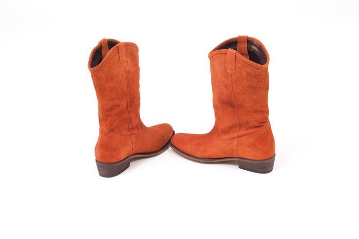 Botas cómodas piel camperas cowgirl color marrón ocre - western cowboy Tawny brown leather boots super comfort miMaO