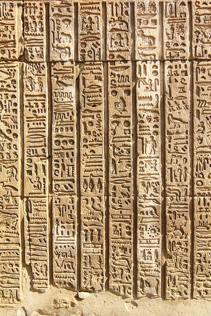 3. Hieroglyphs at Kom Ombo, Egypt. It is usually made up of 24 single consonants (uniliteral glyphs) but also include biliteral and triliteral glyphs to represent two or more consonants together.