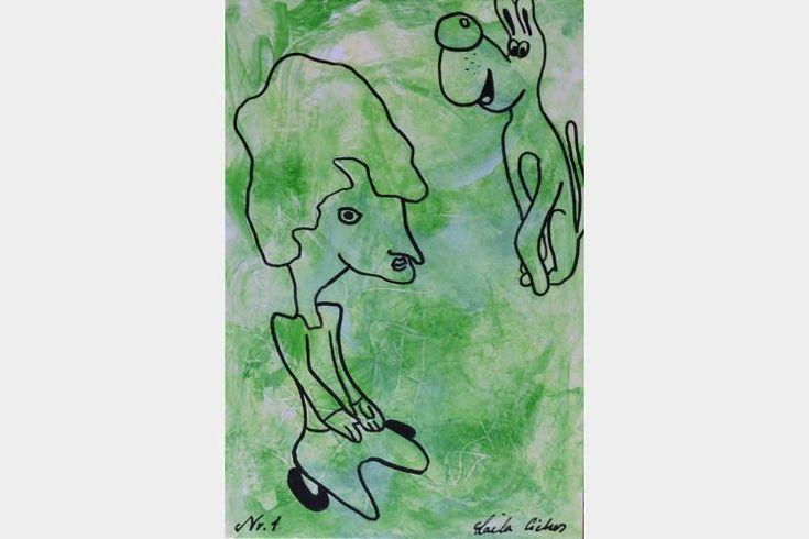 "Artmoney - unique piece of art doubling as a gift card ""Green money 1"""