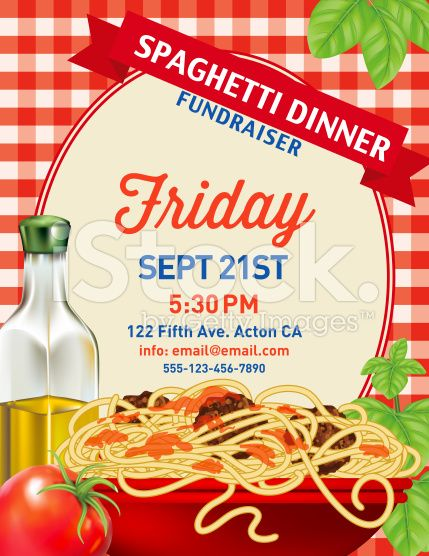 spaghetti dinner vertical invite poster template on red plaid tablecloh royalty