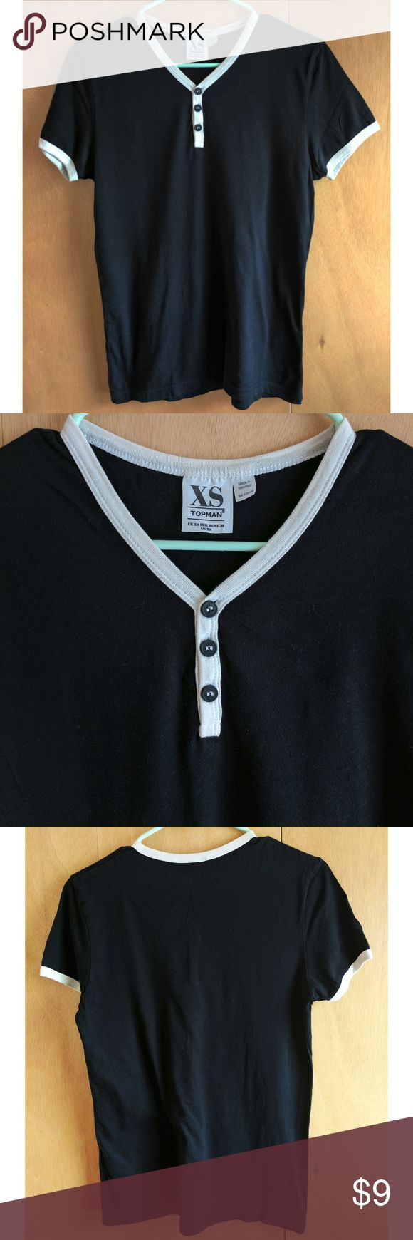 Topman Black Baseball Tee Very soft cotton, features high contrast details on collar and sleeves, as well as 3 buttons on the front collar. Topman Shirts Tees - Short Sleeve