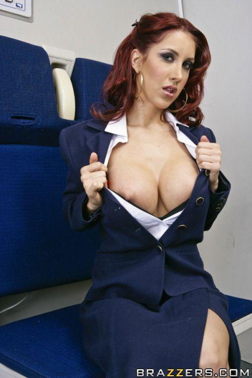 Busty nude stewardess