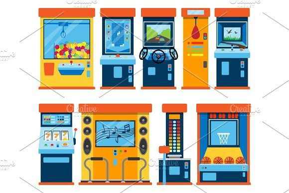 Game machine arcade vector gambling games in casino gamesome gambler or gamer bet in gaming computer machinery gameplay claw a toy or play old console illustration isolated on white background. Leisure #machine