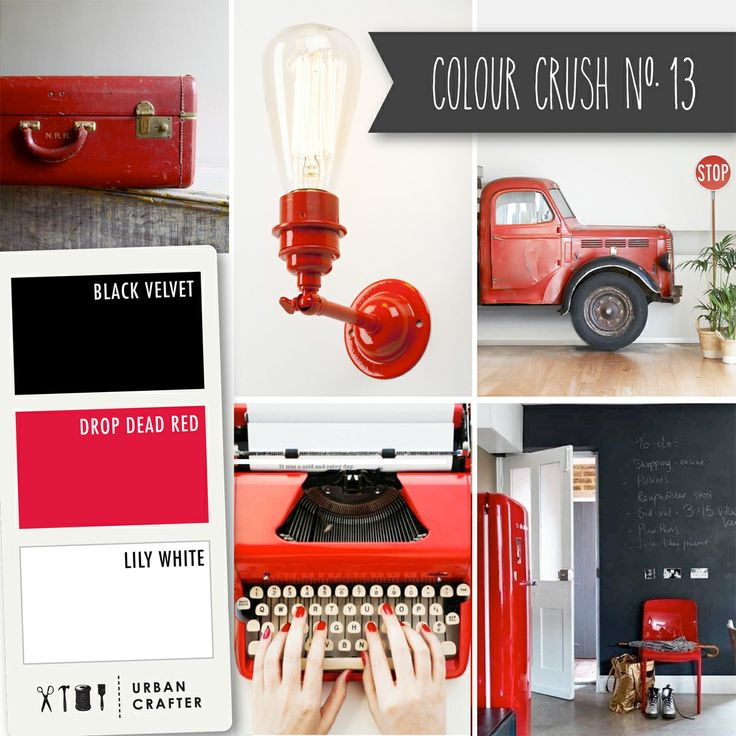 """Urban Crafter Colour Crush #13: Get a similar look with Urban Crafter acrylic paints """" Black Velvet,"""" """"Drop Dead red,"""" and """"Lily White."""" Available at Riot stores Australia wide!"""