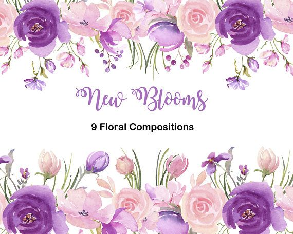 Fresh Springtime Flowers In Purple Pink And Lavender Watercolor Collection Wedding Clip Art Watercolor Clipart For Diy Invitations Pink Watercolor Flower Flower Boarders Wedding Clipart