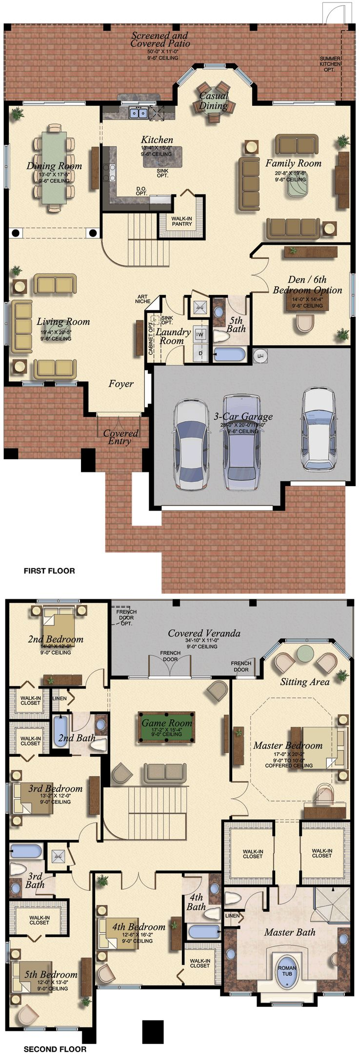 VENETIAN/678 Floor Plan (Large View). Needs more built in storage downstairs and I would make master suite smaller to fit laundry room and linen closet upstairs.
