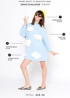 Cheap Halloween Costume Ideas | Armed with $30 each, five Refinery29 editors head to bargain stores to come up with cheap, easy Halloween costumes. See what the made here. #refinery29 http://www.refinery29.com/cheap-halloween-costume-challenge