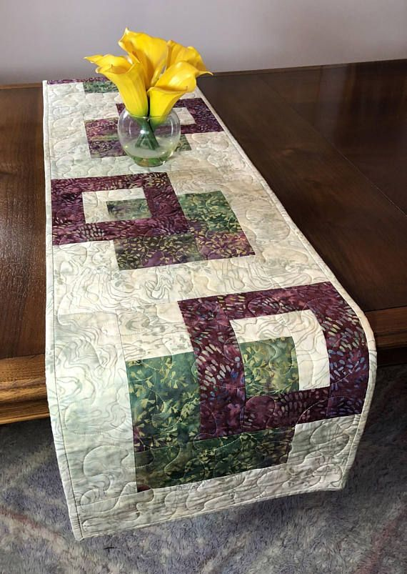 Quilted Tablerunner Beige Wine and Cream Modern Batik Table