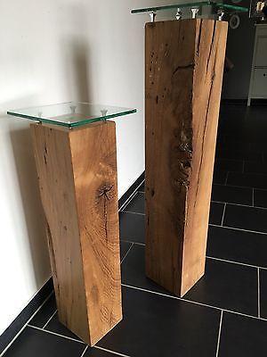 Massive Dekosäulen aus Eichenholz mit Glasplatten in Möbel & Wohnen, Dekoration, Sonstige | eBay