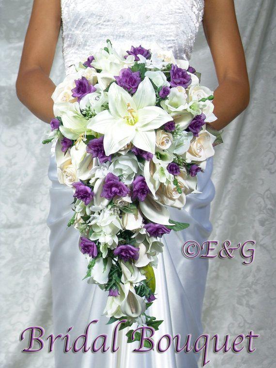 cascading wedding bouquets | Bridal Bouquet Package BEAUTIFUL PRINCESS PURPLE silk flowers cascade ...