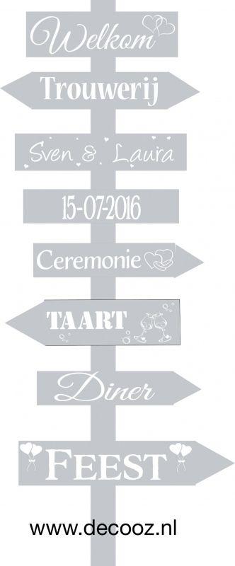 DIY Wegwijspaal, trouwpaal, geboortebord, trouwbord, bord met pijlen, wegwijsbord, wegwijzer, bewegwijzering