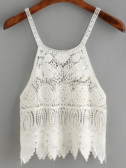 Shop White Spaghetti Strap Crochet Cami Top online. SheIn offers White Spaghetti Strap Crochet Cami Top & more to fit your fashionable needs.