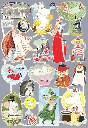 Moomin glossy pictures from 1960's. Suomenlinna Toy Museum, Helsinki, Finland…
