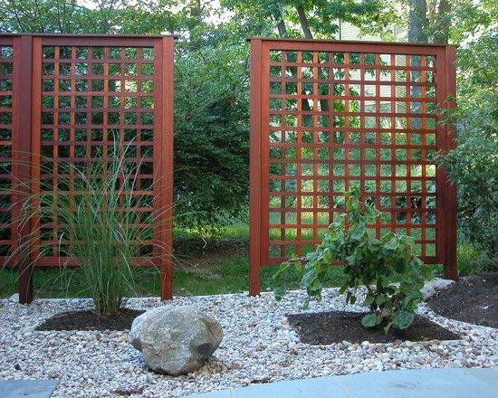 Wonderful Lattice Screen Designs : Rock Garden Asian Landscape Lattice Screen Instead Of Fence For Privacy And Welcome In Japanese Garden St...