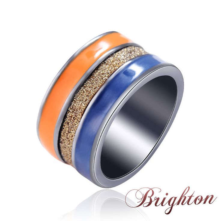 Fashion Men & Women Three Colors Ring Alloy Ring With Blue Gold And Orange Colored Ribbons Fine Jewelry 2015