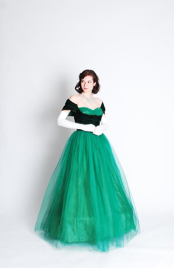 ...40s emerald green evening gown.