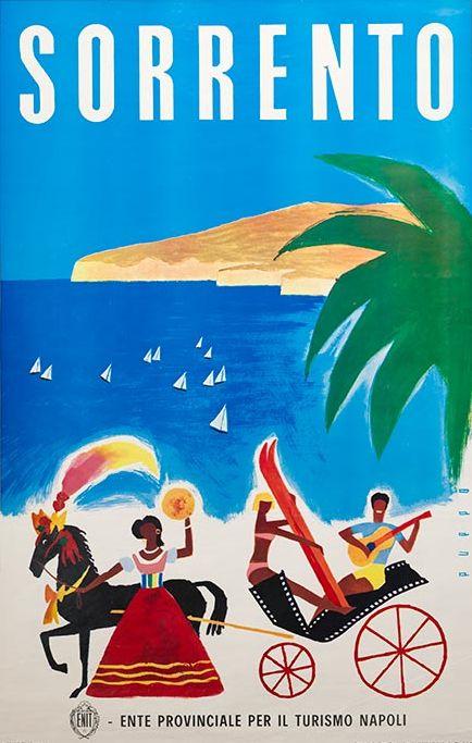"Poster by Mario Puppo, 1954, ""Sorrento"". (I)"