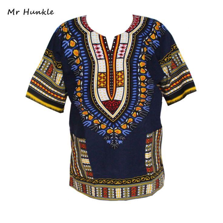 Mode Band Desain 100% Katun Baru Kedatangan Mr Hunkle Dashiki Afrika Dashiki Cetak Pakaian Lengan Pendek T-shirt Untuk Pria
