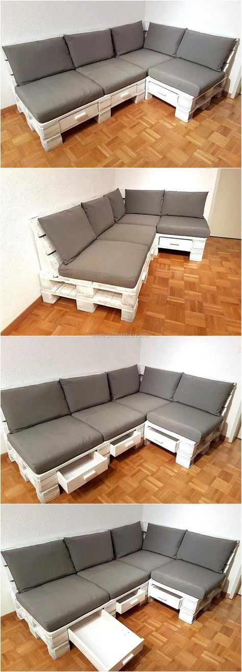 recycled pallet couch with storage drawers