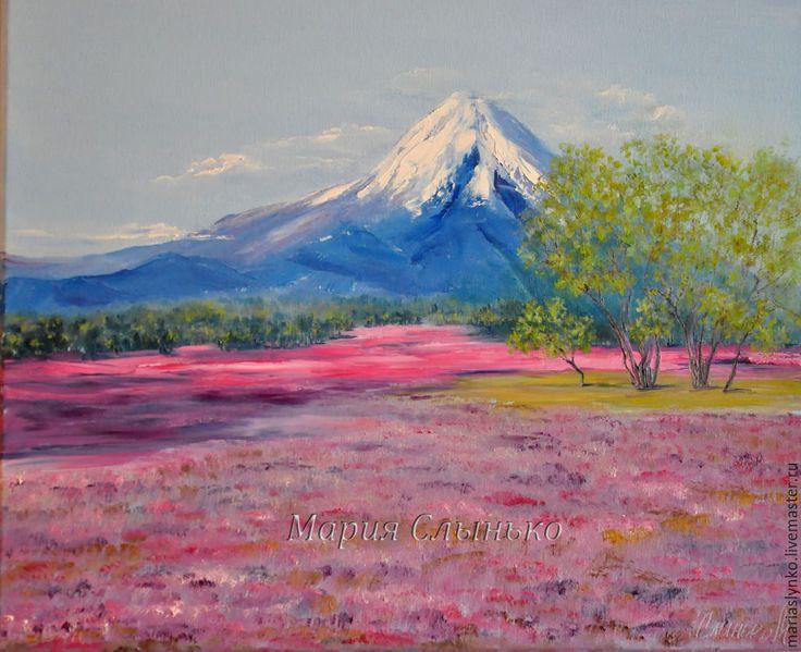 Купить Картина маслом. Весна в горах. - брусничный, горный пейзаж, картина маслом горы