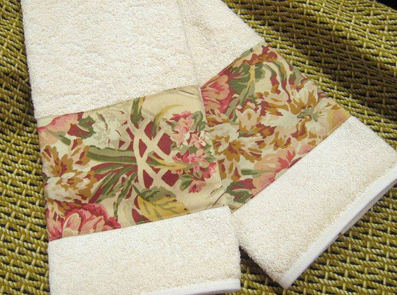 GUINEVERE - Custom Set Decorated Cream Hand Towels -  Ralph Lauren Fabric -The Medieval Collection