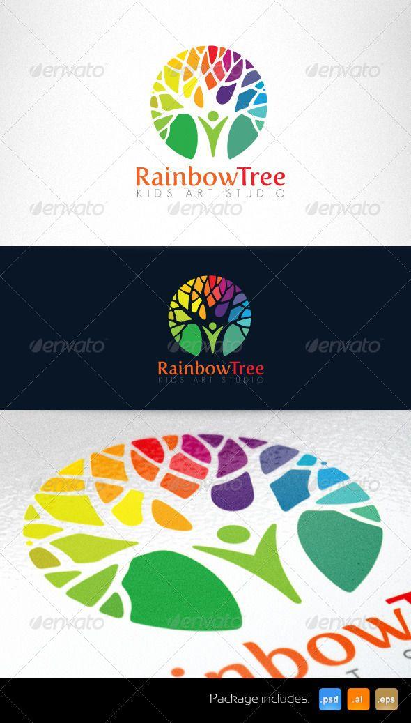 Kids Art Studio and Kindergarten Logo Template — Photoshop PSD #rainbow #art l...