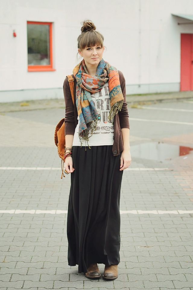 brown cardi + tee + black maxi + scarf