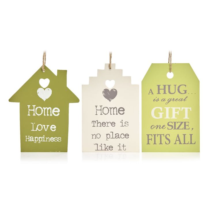 Wilko set of 3 wooden hanging plaque