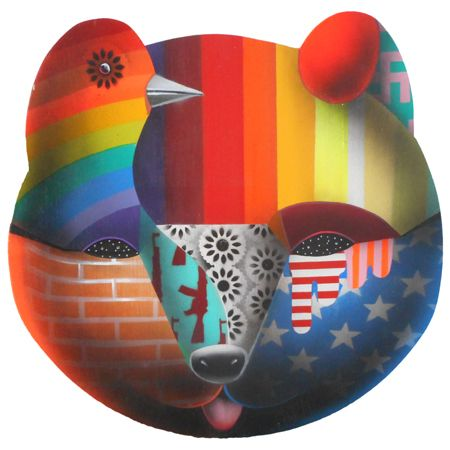 Okuda  San Miguel Animal Mask 2 - 2014 Synthetic enamel on wood 50 cm diameter  Enquiries: info@19karen.com.au
