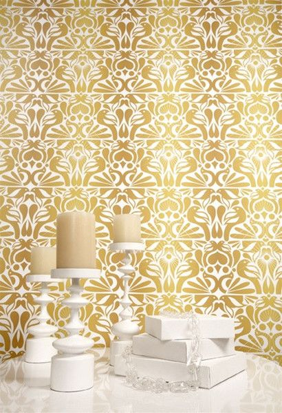 Birds Wallpaper in White Yellow and Gold design by Kreme