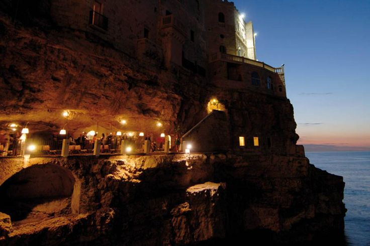 "The summer restaurant in cave at Hotel restaurant ""GROTTA PALAZZESE"" - Polignano a Mare town (in the metropolitan area of Bari city),  Bari province, Puglia (in English: Apulia) region, Italy"