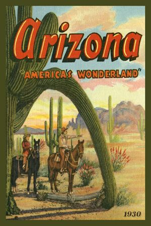 Arizona Americas Wonderland 1930. Quilt Block printed on cotton. Ready to sew.  Single 4x6 block $4.95. Set of 4 - 4x6 quilt blocks with wall hanging pattern $17.95.