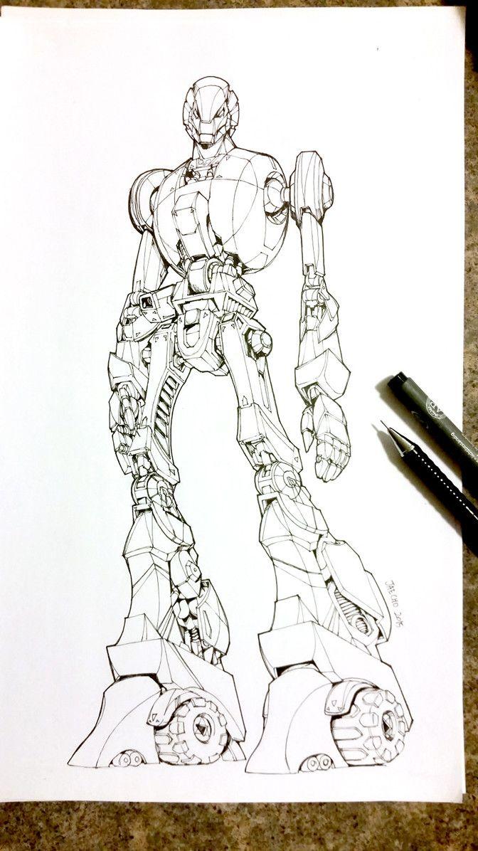 *Inktober* Robot Sketch, Jae Cho on ArtStation at https://www.artstation.com/artwork/gwyyx