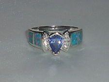 Ring Damen Handgefertigt 925 Feines Silber Tansanit Weißer Saphir & Opal